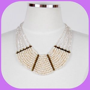 NWT Layers of Pearl & Crystal Bib Necklace-